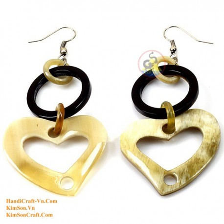 Organic Cow Horn - Circle and Heart - Black and White - Earrings