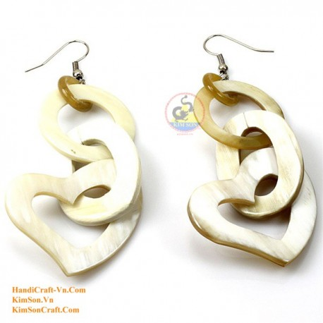 Organic Cow Horn - Circle and Heart - White - Earrings