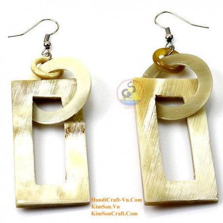 Organic Cow Horn - Circle and Rectangular - White - Earrings