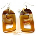 Organic Cow Horn - Circle and Rectangular - Yellow and Black - Earrings