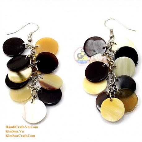 有機牛角 - サークル - 白、黄色、黒のイヤリング