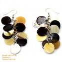 オーガニック牛角 - サークル - 白、黄色、黒のイヤリング