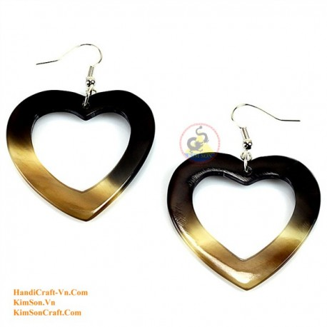 Organic Cow Horn - Heart - Black and White - Earrings