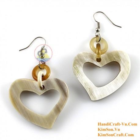 Organic Cow Horn - Heart - White -Earrings