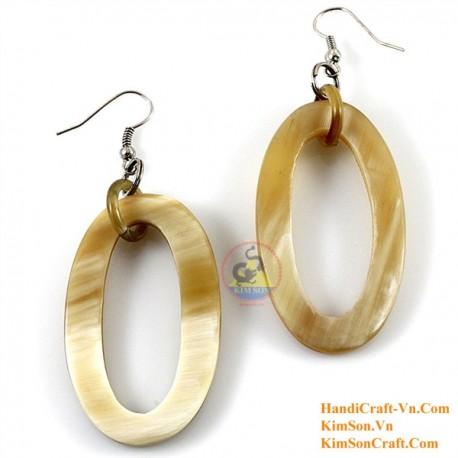 Organic Cow Horn - White - Earrings