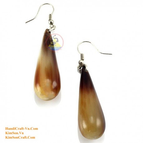 Organic Cow Horn - White - Earrings