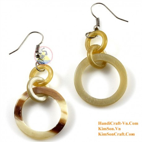 Organic Cow Horn - Oval - Black and Yellow - Earrings