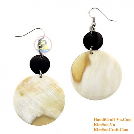 Organic Cow Horn - White and Black - Earrings