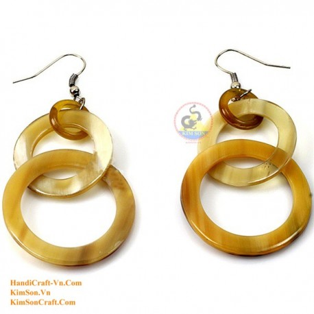 Organic Cow Horn -Empty Circle - Yellow - Earrings