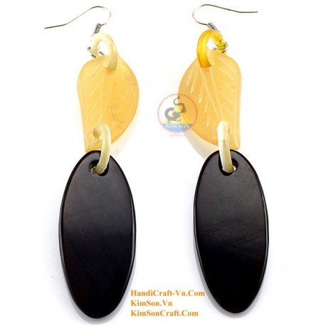 Organic Cow Horn -Leaf - White and Black - Earrings