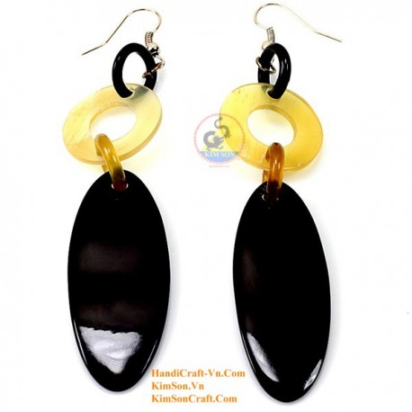 Organic Cow Horn -Yellow and Black - Earrings
