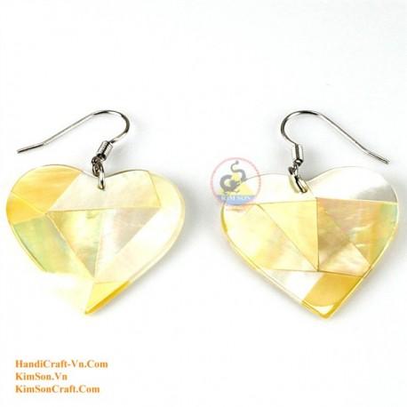 Органические Золото Перламутр - Сердце - серьги