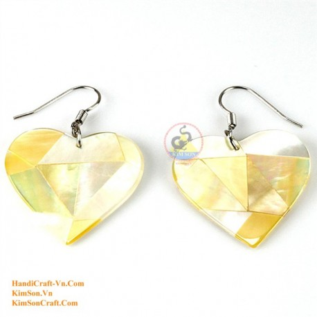 Organic Gold Mother of Pearl - Heart - Earrings