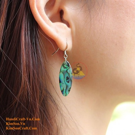 Organic Green Abalone - Oval - Earrings