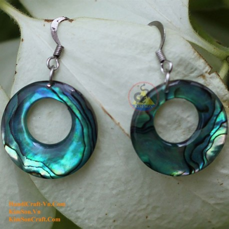 Organic Green Abalone - Circle - Earrings