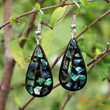 Organic Mother of Pearl - Black and Blue - Earrings