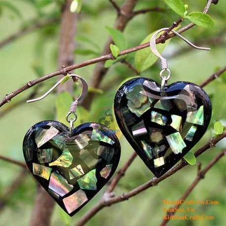 Organic Mother of Pearl - Heart - Black and Blue - Earrings