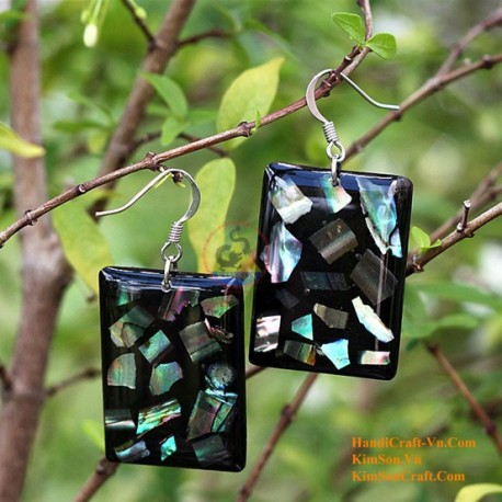 Organic Mother of Pearl - Rectangular - Black and Blue - Earrings