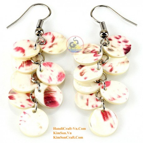 Organic Mother of Pearl - Circle - White and Red - Earrings