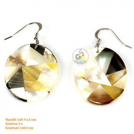 Organic Mother of Pearl - Circle - Gold , White and Black - Earrings
