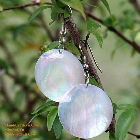 Organic Mother of Pearl - Circle - White - Earrings