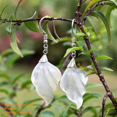 Органические Перламутр - Leaf - Серебро - серьги