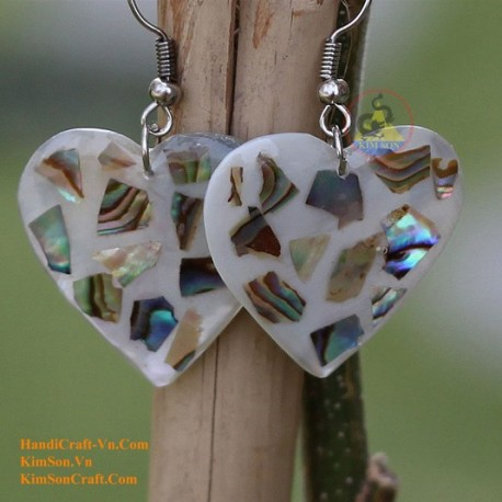 Organic Mother of Pearl - Heart - Silver and Black Blue - Earrings