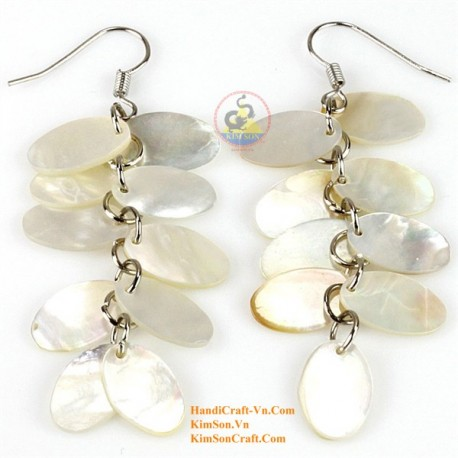 Organic White Mother of Pearl - Circle - Earrings