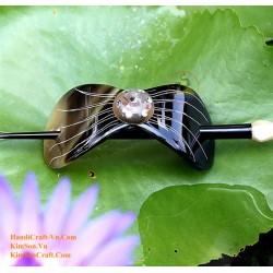 Bow Organic Horn & Abalone Hair Barrette