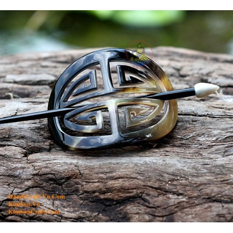 Chinese Character Organic Horn Hair Barrette