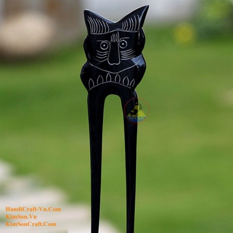 Cat Double Stick Organic Horn Hair Stick
