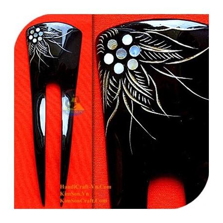 Двухместный Придерживайтесь Органические Хорн и перламутр ручки волос