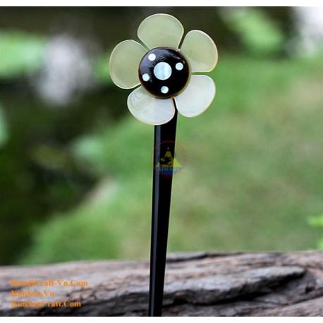 Цветок Органические Хорн и кости ручка волос