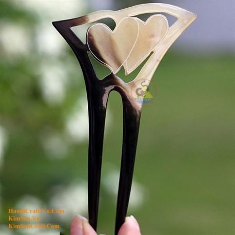 Heart Double Stick Organic Horn Hair Stick