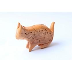 猫パズル木製玩具 - 手作り - グリーン素材・天然木色