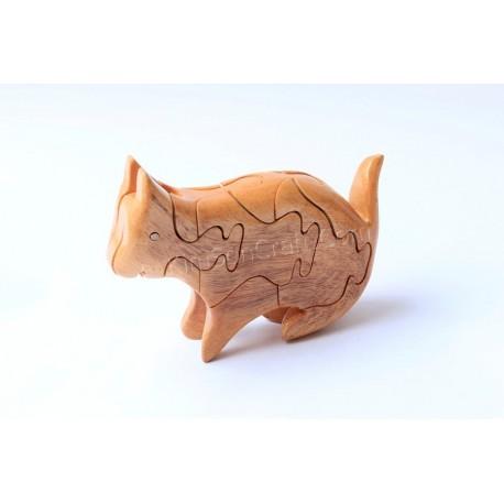 Кошка головоломки деревянные игрушки - ручной - зеленый Материал & Натуральный цвет древесины