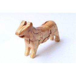 Cat puzzle wooden toys - Handmade - Green Material & Natural Wood Color