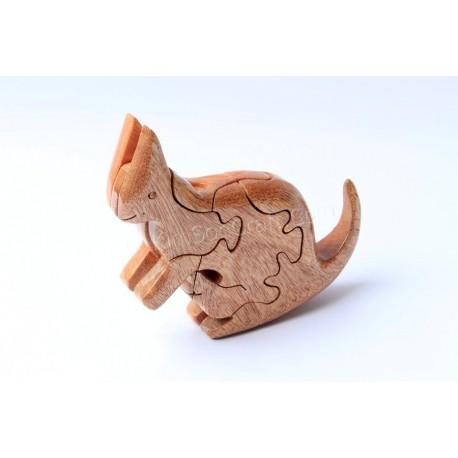 Кролик головоломки деревянные игрушки - ручной - зеленый Материал & Натуральный цвет древесины