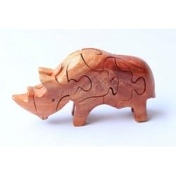 Носорог Головоломки Деревянные игрушки - ручной работы - Зеленый Материал & Natural Wood цвет
