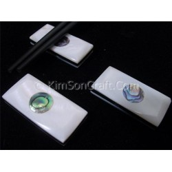 3 Layer Chopsticks holder: Mother of pearl + Black horn and inlay round abalone