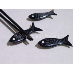 "Chopsticks holder ""fish"" black ""water buffalo horn"""