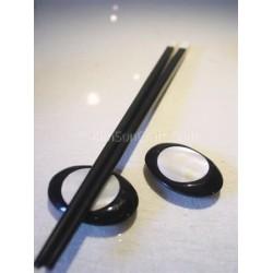 Держатель Палочки для еды - ручной из черного рога буйвола + инкрустация перламутром - форма глаз