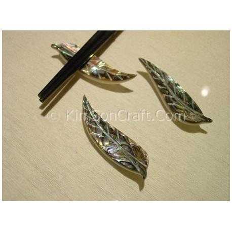 Chopsticks holder leaf petrol mother of pearl + abalone