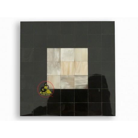 Мозаика плитка - белый мрамор в сочетании с Черный цвет - Крупный рогатый скот Рога