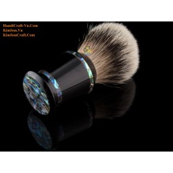 Abalone Lines on Round Genuine Black Cow Horn Shaving Brush (21, 24, 28 mm badger hair)