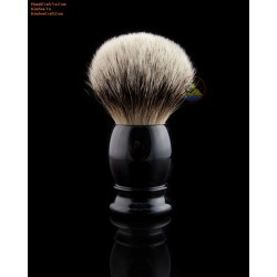 Genuine Black Horn Shaving Brush With Silver Tip Badger Hair (Knot size from 21 to 28 mm)