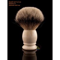Genuine Cattle Bone - Ivory Color - Shaving Brush With Silver Tip Badger Hair (Knot size from 21 to 28 mm)