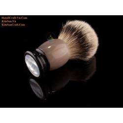 Abalone Lines on Round Genuine Black Cow Horn Shaving Brush (21, 24, 28 mm badger hair)