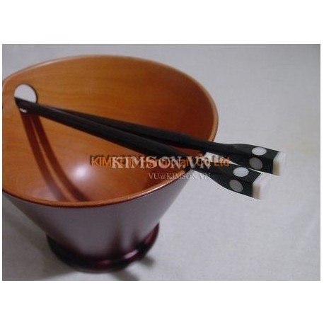 Chopsticks made hand from ebony, point head mother-of pearl + bone