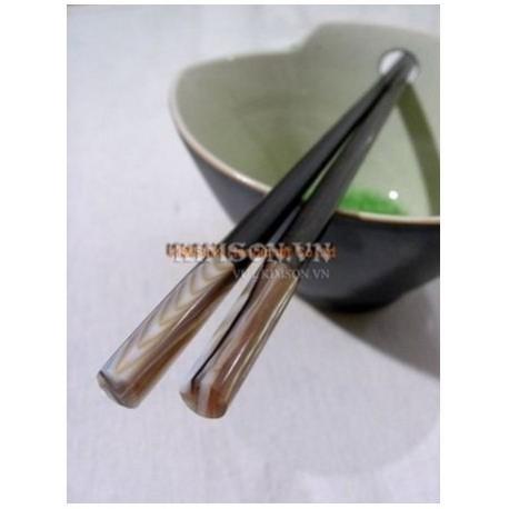 Chopsticks handmade from ebony, black mother-of-pearl head